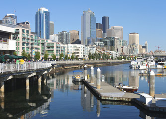 Pier 66 marina, Seattle skyline.