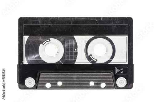 Grungy Old Blank Cassette Tape with Clipping Path