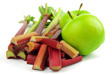 red rhubarb and green apples
