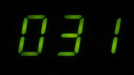 A green LED digital countdown clock