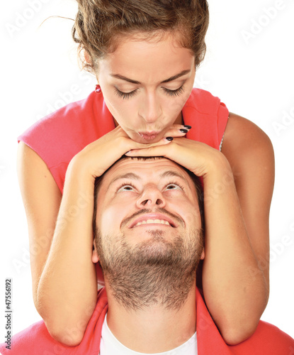 Young man and woman together over white background