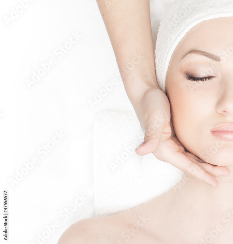 Portrait of a woman on a spa massage procedure