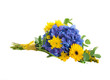 Bouquet from blue hydrangeas and yellow asters