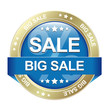 big sale blue gold button isolated background