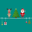 santa reindeer tree on twine green background