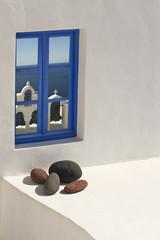 blaues Fenster in Santorini