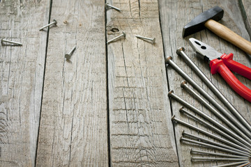 House construction renovation with tools abstract background