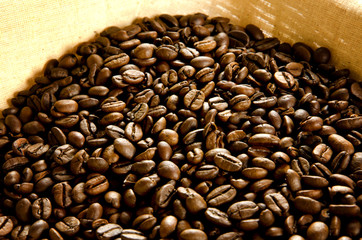 Coffee beans in a basket