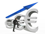 Conceptual 3D blue glass euro symbol with arrow pointing up
