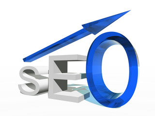 Conceptual 3D blue glass SEO symbol with arrow pointing up