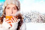 Fototapety frau im winter
