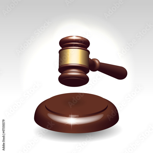 Wooden gavel as justice services symbol