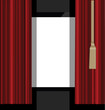red curtains to theater stage