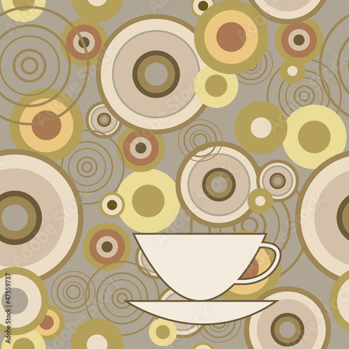 Seamless texture with circles and cup © bulycheva_art