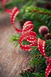 Close up of red christmas ribbon and spruce twigs