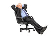 A mature businessman resting in armchair