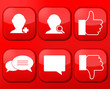 Vector red social Network app icon set. Eps10