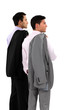 Two businessmen with their jackets over their shoulders