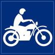 Schild blau - Motorradfahrer