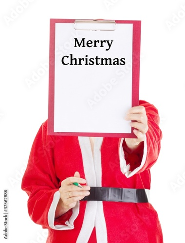 Female santa showing something on clipboard
