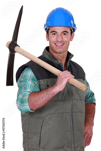 Man in blue hard hat