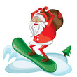 Cartoon snowboarding Santa