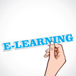 E-learning word in hand stock vector