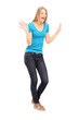 Full length portrait of a young excited woman gesturing