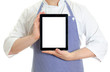 Male chef cook hands holding tablet pc. Isolated on white