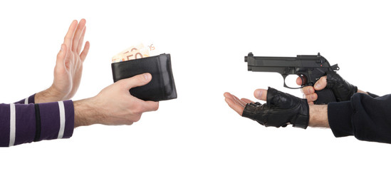 Robber with gun taking wallet from victim