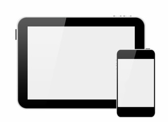 smartphone and tablet pc with blank screen