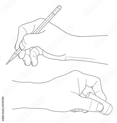 Human hands with pencil and eraser