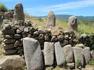 Steinwall aus Menhiren, Filitosa, Korsika