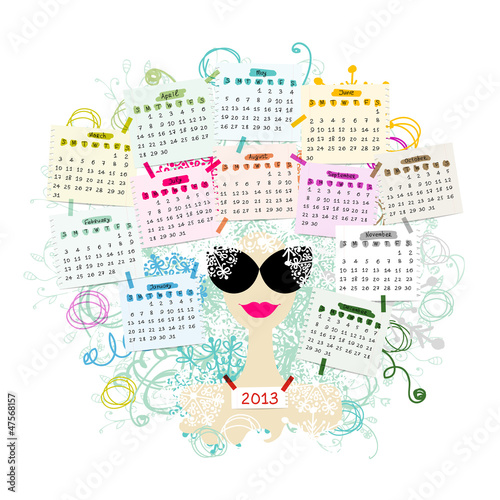Woman portrait, calendar 2013 concept for your design