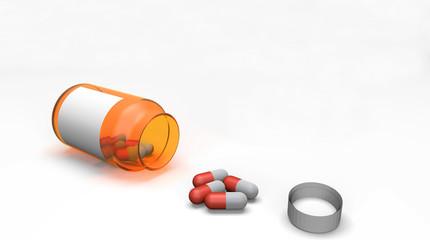 Pills spilling out of pill bottle 3d on white