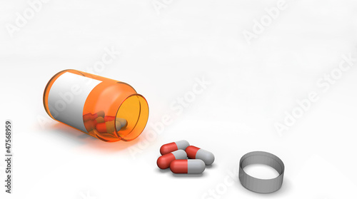 Pills spilling out of pill bottle 3d on white