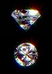 Illustration of cutted diamond on black