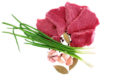 Cut of  beef steak  with  laurel, garlic and  flavouring.
