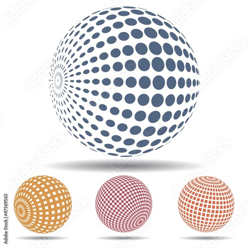 Different 3d abstract spheres set