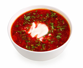 russian national red soup borsch on white with clipping path