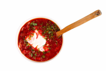 russian national red soup borsch isolated  with clipping path