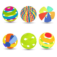 Different fun colored 3d spheres