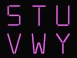 S,T,U,V,W,Y alphabet pink neon
