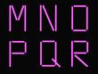 M,N,O,P,Q,R alphabet pink neon