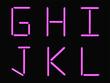 G,H,I,J,K,L alphabet pink neon
