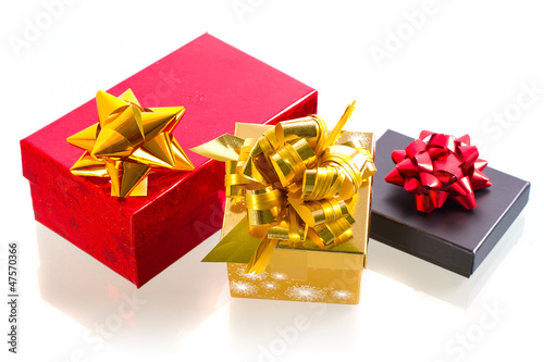 Christmas present boxes over white background