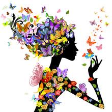 fleurs de mode de fille avec des papillons
