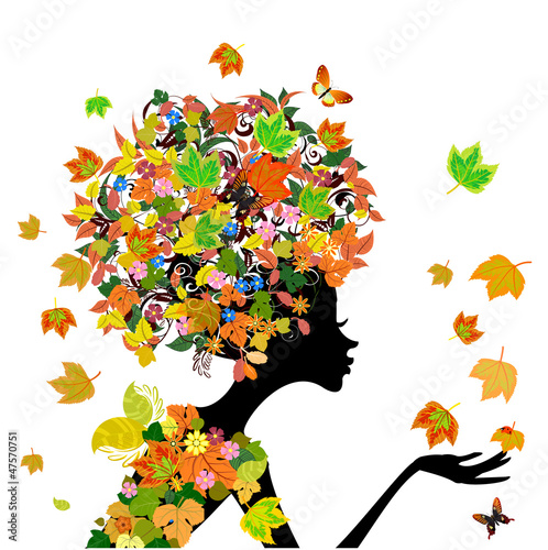 Foto op Canvas Bloemen vrouw girl fashion flowers in autumn