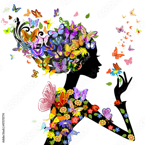 Fotobehang Floral Vrouw girl fashion flowers with butterflies