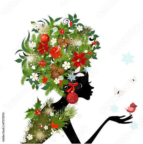 Foto op Canvas Bloemen vrouw Fashionable girl with Christmas hairstyle for your design